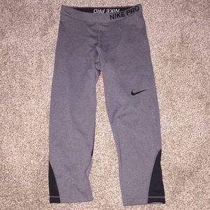 Cropped Grey Nike Pro Leggings